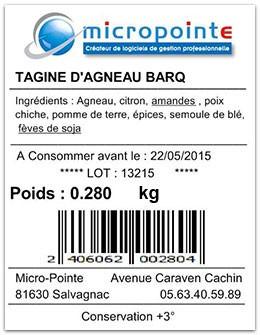 Etiquette produit conformité allergènes